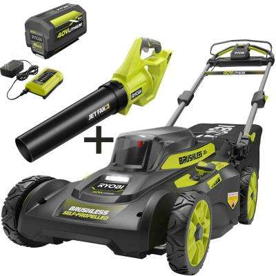 20 in. 40-Volt Brushless Lithium-Ion Cordless Self-Propelled Walk Behind Lawn Mower & Blower w/6.0 Ah Battery & Charger