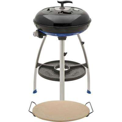 Carri Chef 2 Portable Propane Gas Grill in Black with Pot Ring, Pizza Stone, and Grill Plate
