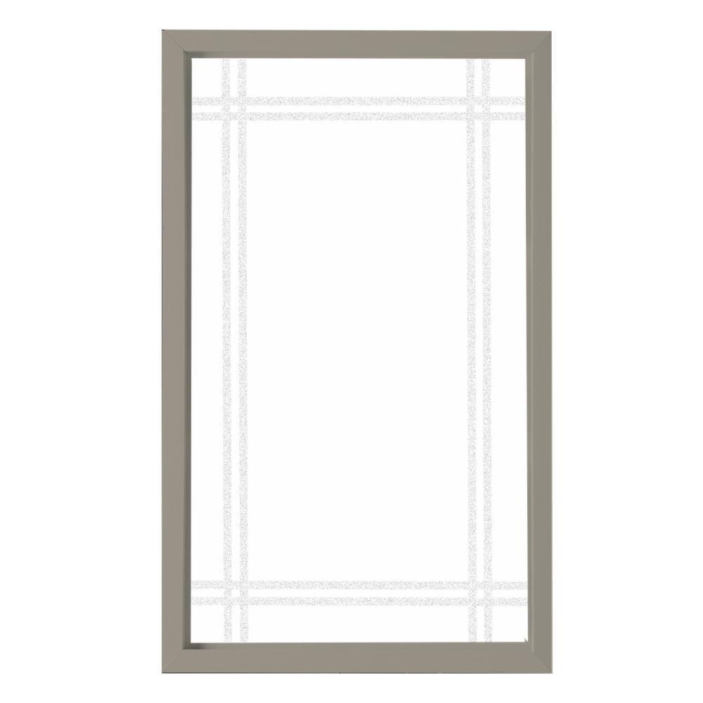 Hy-Lite 35.5 in. x 59.5 in. Prairie Decorative Glass Picture Vinyl Window - Driftwood