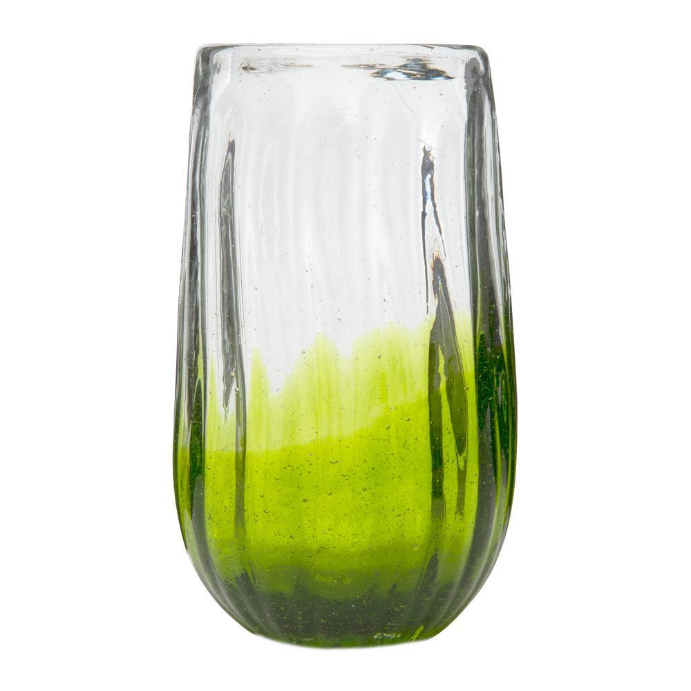 Amici Home Rosa 14 oz. 6-Piece Lime Glass Hiball Drinkware Set