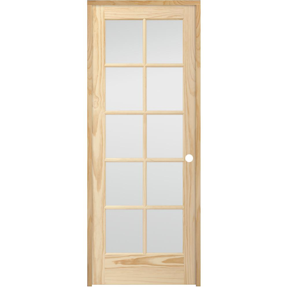 24 in. x 80 in. 10-Lite French Unfinished Pine Left Hand