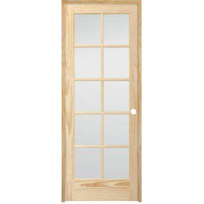 30 in. x 80 in. 10-Lite French Unfinished Pine Left Hand Solid Core Wood Single Prehung Interior Door with Nickel Hinge