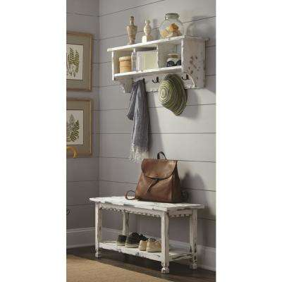 Country Cottage White Antique Coat Hooks and Bench Set