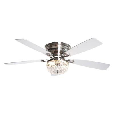 48 in. Indoor Satin Nickel Flush Mount Crystal Ceiling Fan with Light Kit and Remote Control