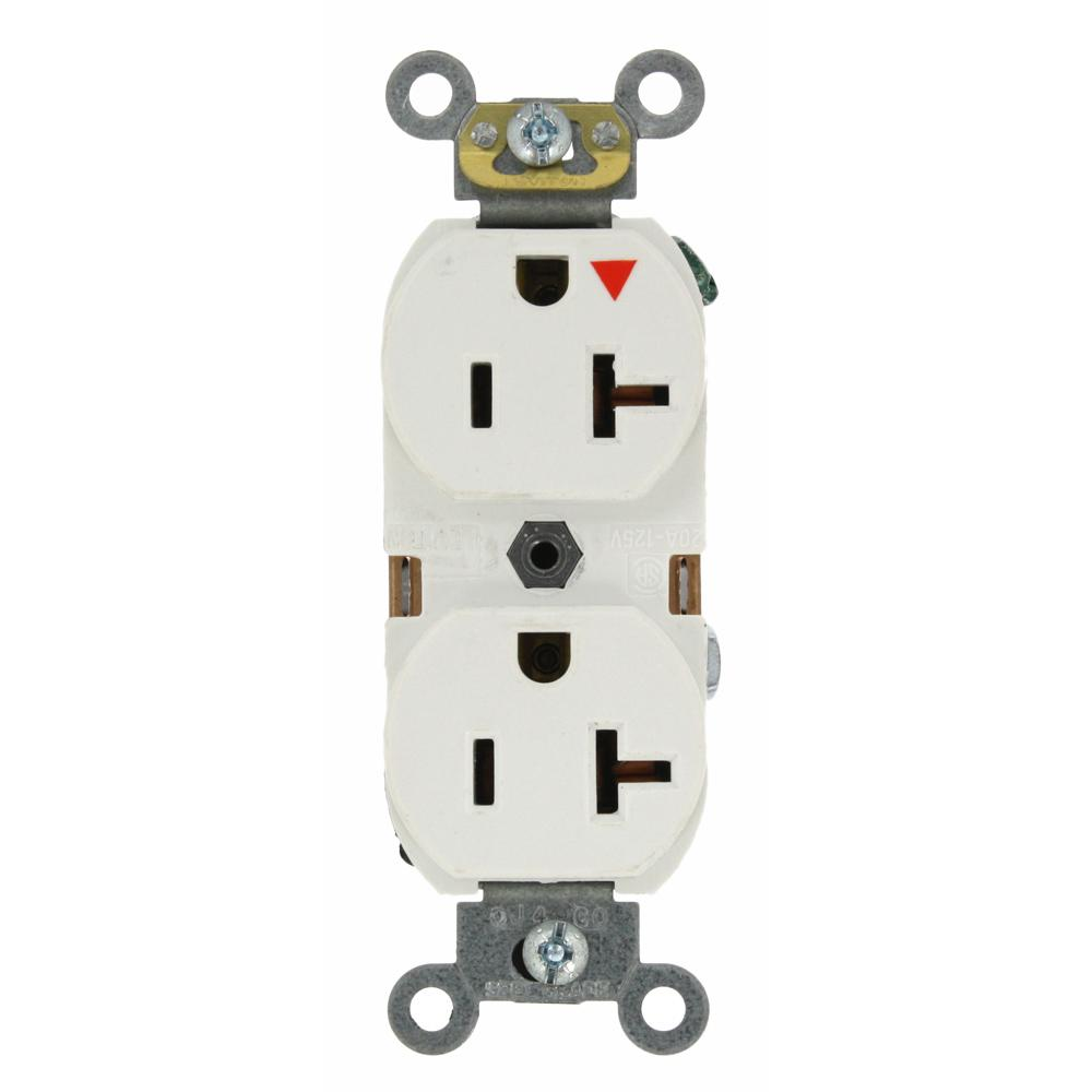 20 Amp Industrial Grade Heavy Duty Isolated Ground Duplex Outlet, White