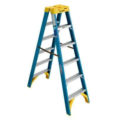 6 ft. Fiberglass Twin Step Ladder with 250 lb. Load Capacity Type I Duty Rating