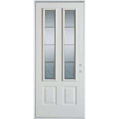 36 in. x 80 in. Geometric Glue Chip and Zinc 2 Lite 2-Panel Painted White Left-Hand Inswing Steel Prehung Front Door
