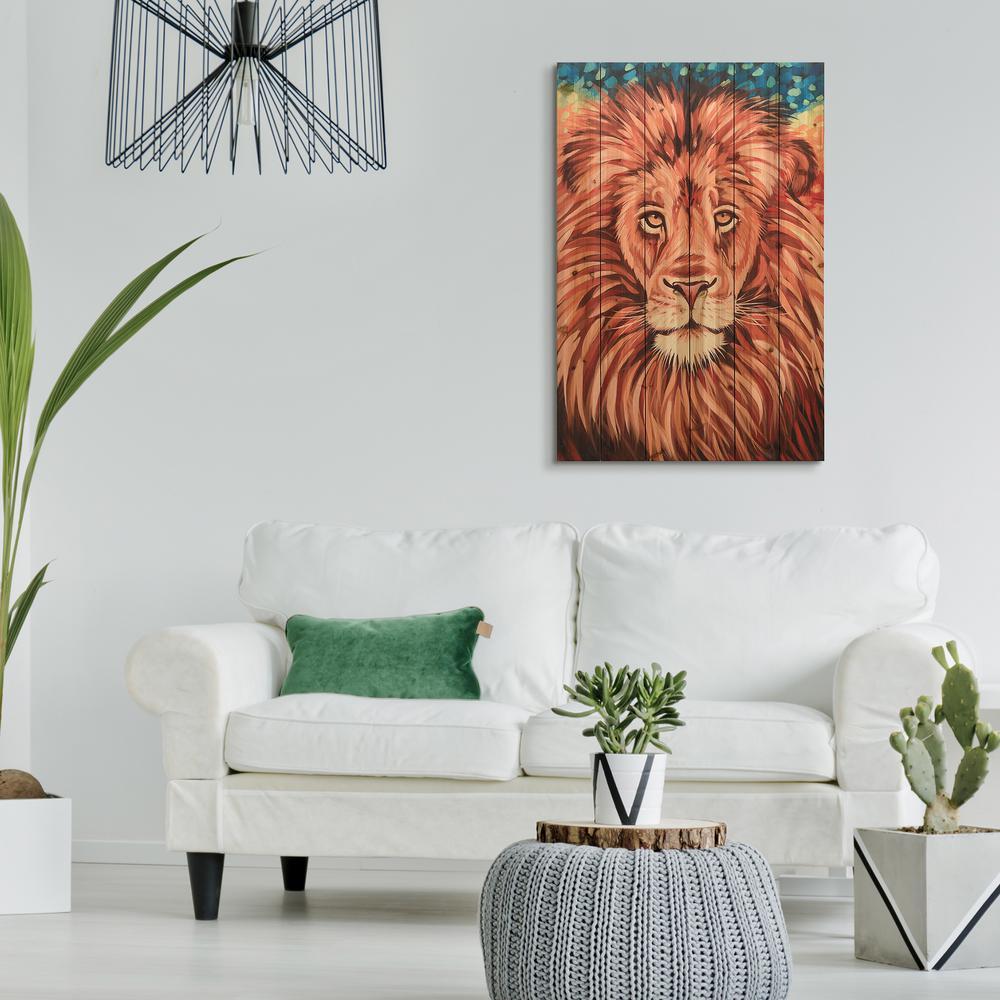 """36 in. x 24 in. """"Wild Africa 2"""" Arte de Legno Digital Print on Solid Wood Wall Art"""