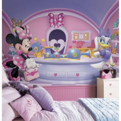 72 in. x 126 in. Minnie Fashionista Chair Rail Prepasted Wall Mural