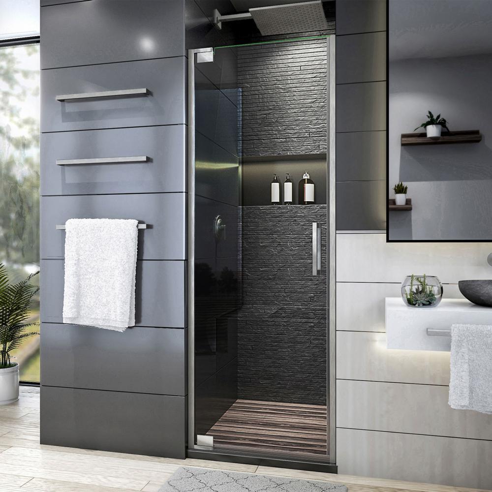 Elegance Plus 34-34 1/2 in. W x 72 in. H Frameless Pivot Shower Door in Brushed Nickel