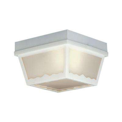1-Light Matte White Outdoor Ceiling Flush-Mount Fixture