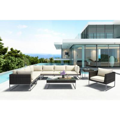 Malibu Aluminum Wicker Corner Outdoor Sectional Chair with Beige Cushion