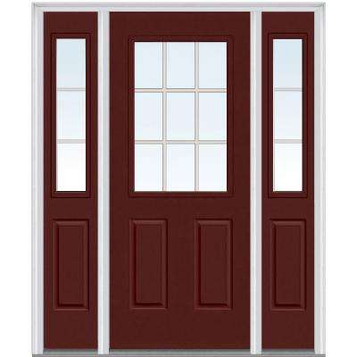 60 in. x 80 in. Grilles Between Clear Glass Right Hand 1/2 Lite 2-Panel Painted Steel Prehung Front Door with Sidelites