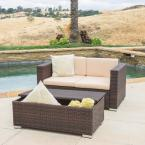 Florence Brown 2-Piece Wicker Patio Conversation Set with Beige Cushions
