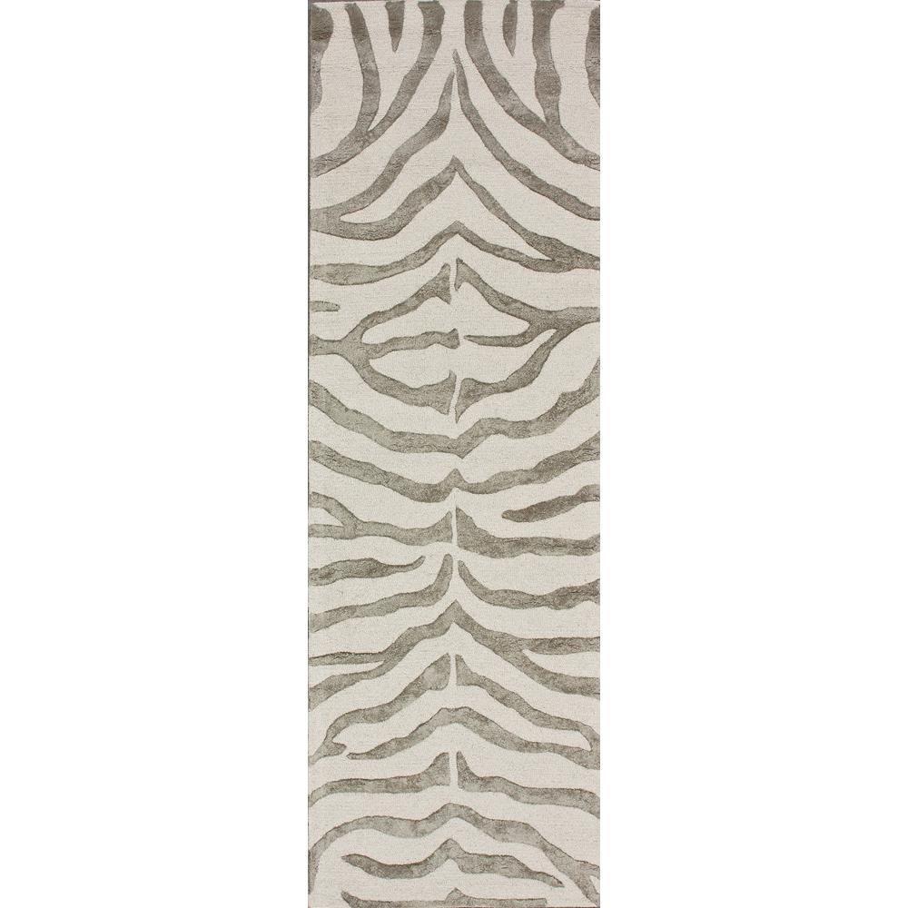 Plush Zebra Grey 3 ft. x 8 ft. Runner Rug