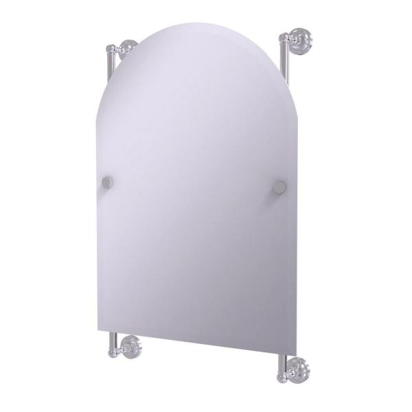 Dottingham Collection Arched Top Frameless Rail Mounted Mirror in Satin Chrome