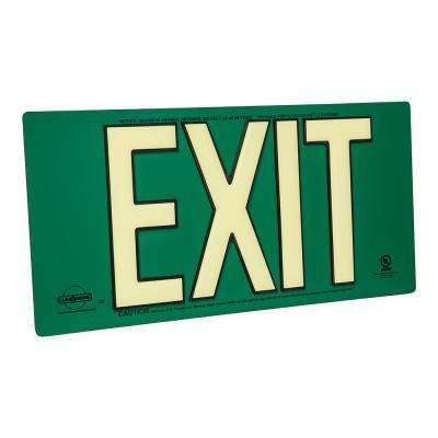 UL Listed PolyMetal Green Photoluminescent Back to Back Emergency Exit Sign
