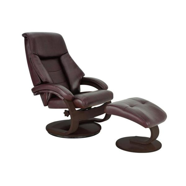 Montreal Merlot Top Grain Leather Recliner with Ottoman