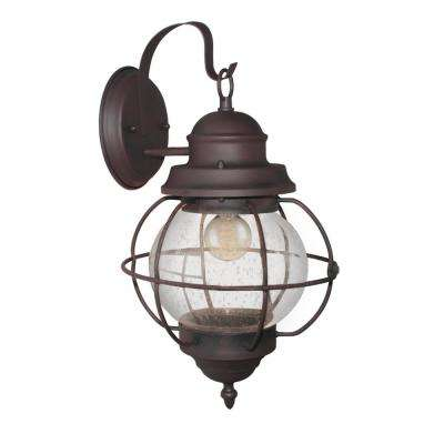 Globe 1-Light Bronze Outdoor Wall Mount Lantern with Seeded Glass
