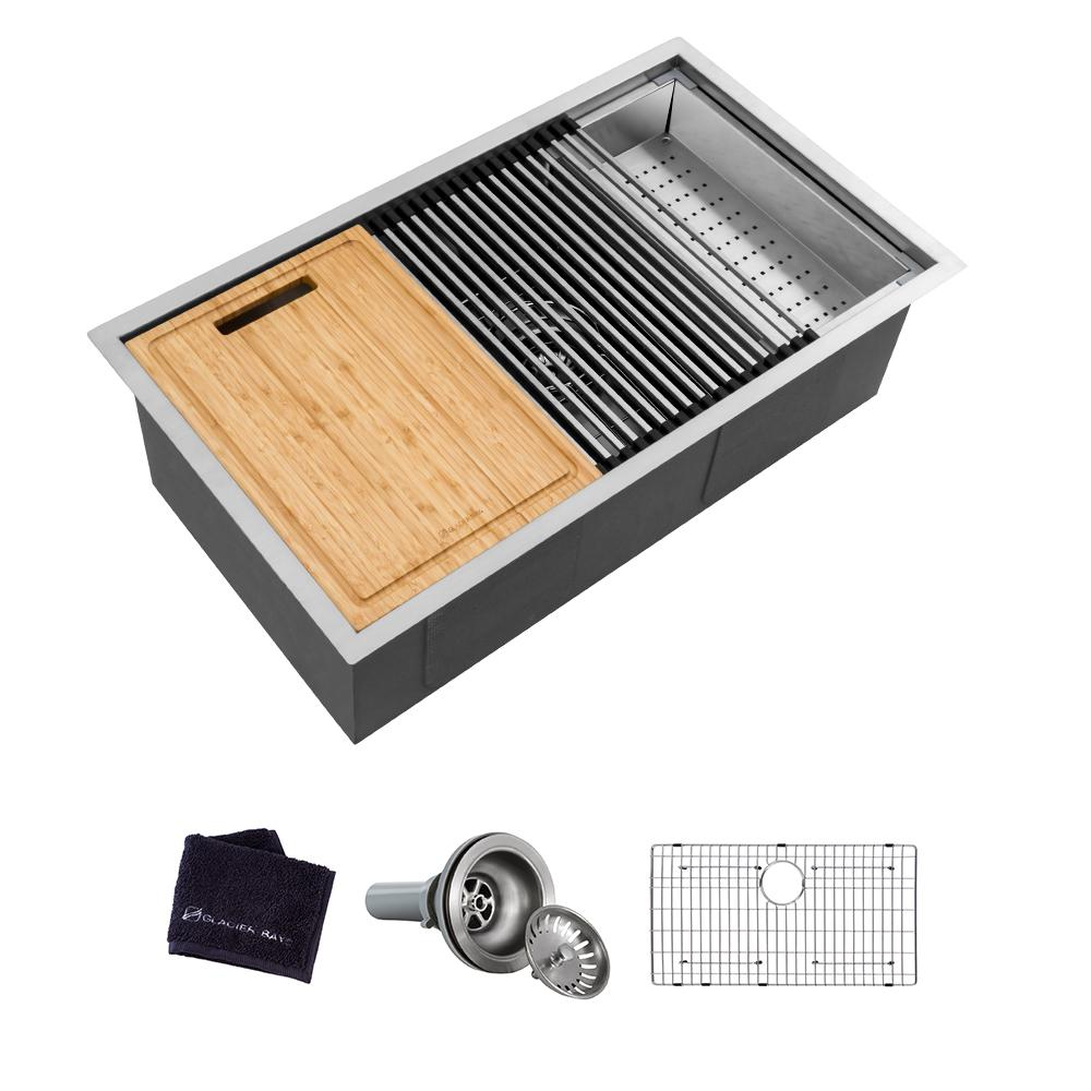 GLACIER BAY Glacier Bay All-in-One Undermount Stainless Steel 32 in. Single Bowl Kitchen Workstation Sink with Accessories Kit, Silver
