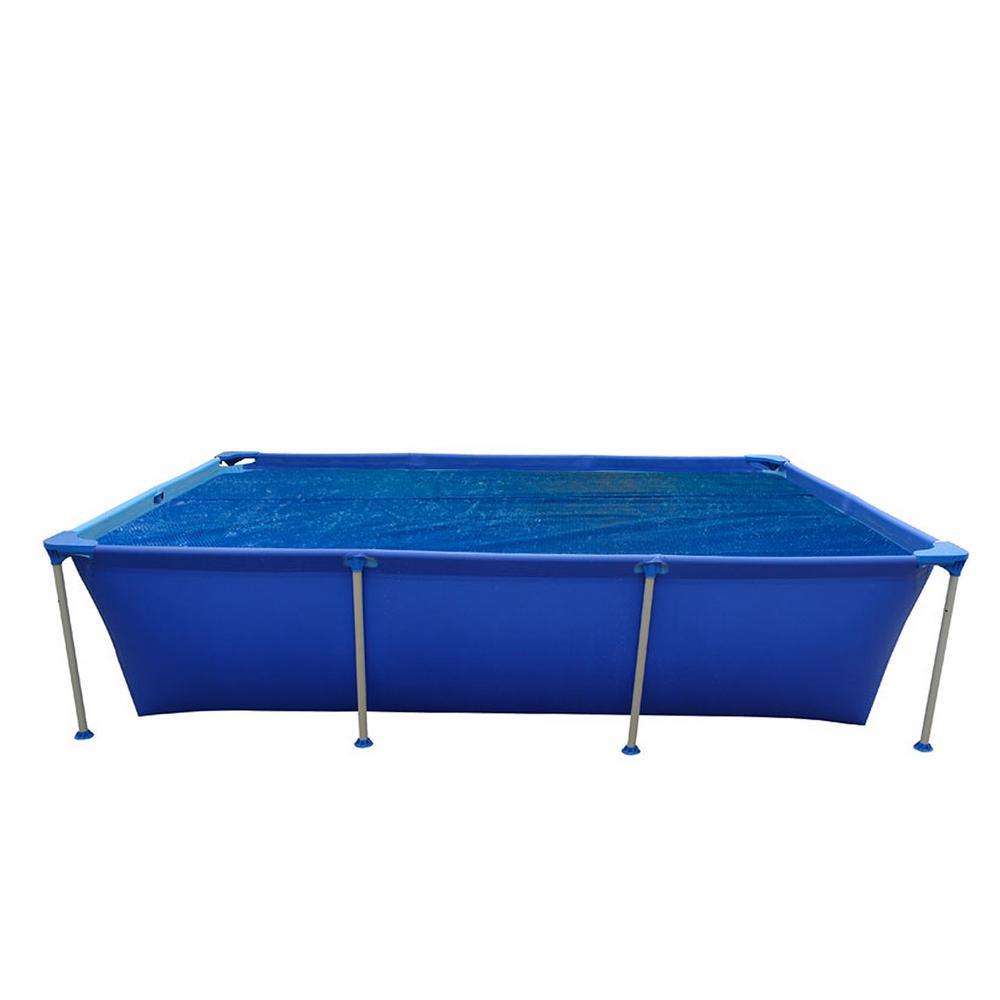 8 ft. x 17 ft. Rectangular Blue Steel Frame Swimming Above Ground Pool Floating Solar Cover