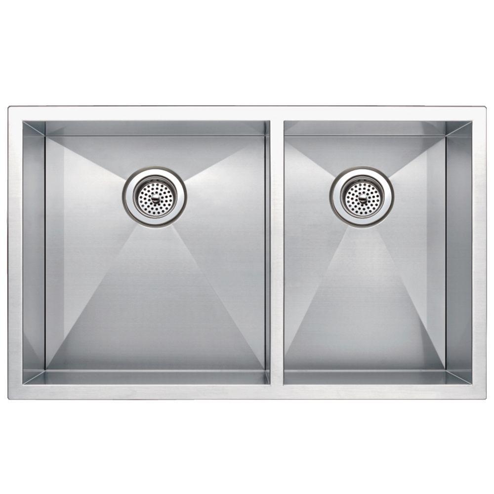 Undermount Zero Radius Stainless Steel 33x20x10 0-Hole Double Bowl Kitchen Sink in Satin Finish