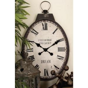 31 inch x 18 inch Vintage Iron and LED Oval Wall Clock