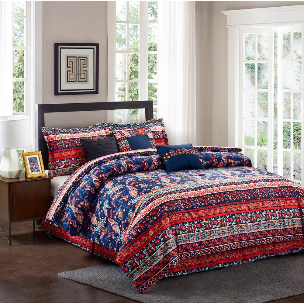 Hannah 7-Piece Multicolored King Comforter Set
