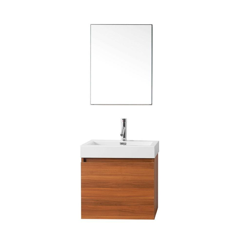 Virtu USA Zuri 24 in. W Vanity in Plum with Poly-Marble Vanity Top in White with White Basin and Mirror