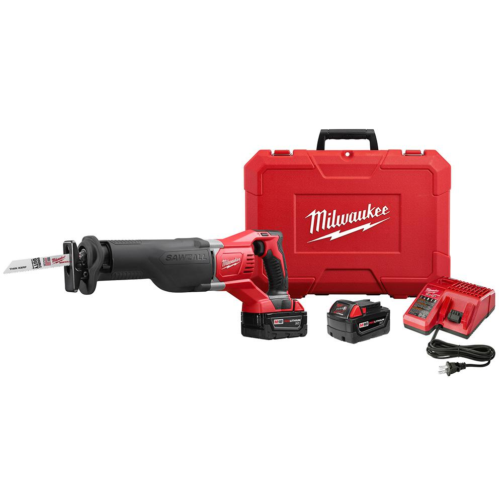 M18 18-Volt Lithium-Ion Cordless SAWZALL Reciprocating Saw W/(2) 3.0Ah
