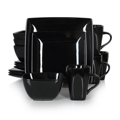 Series Soho 16-Piece Black Modern Porcelain Dinnerware Sets Square Dinner Plate Bowls Mugs (Service Set for 4)