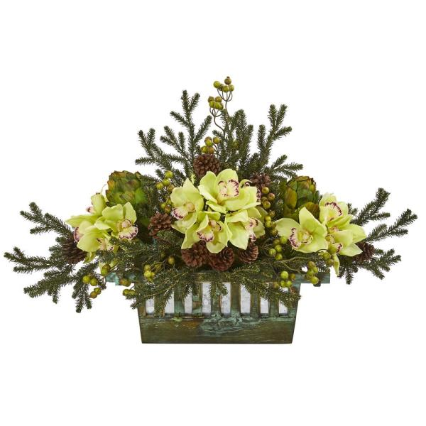 Nearly Natural Cymbidium Orchid Artichoke Pine and Berries Artificial
