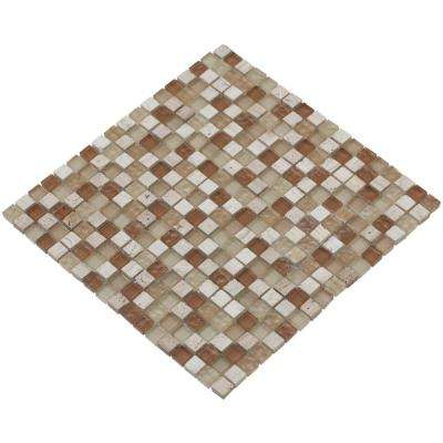 MeshPess/Beige, 4 in. x 4 in. x 8 mm Glass and Stone Mesh-Mounted Mosaic Tile, Tile Sample
