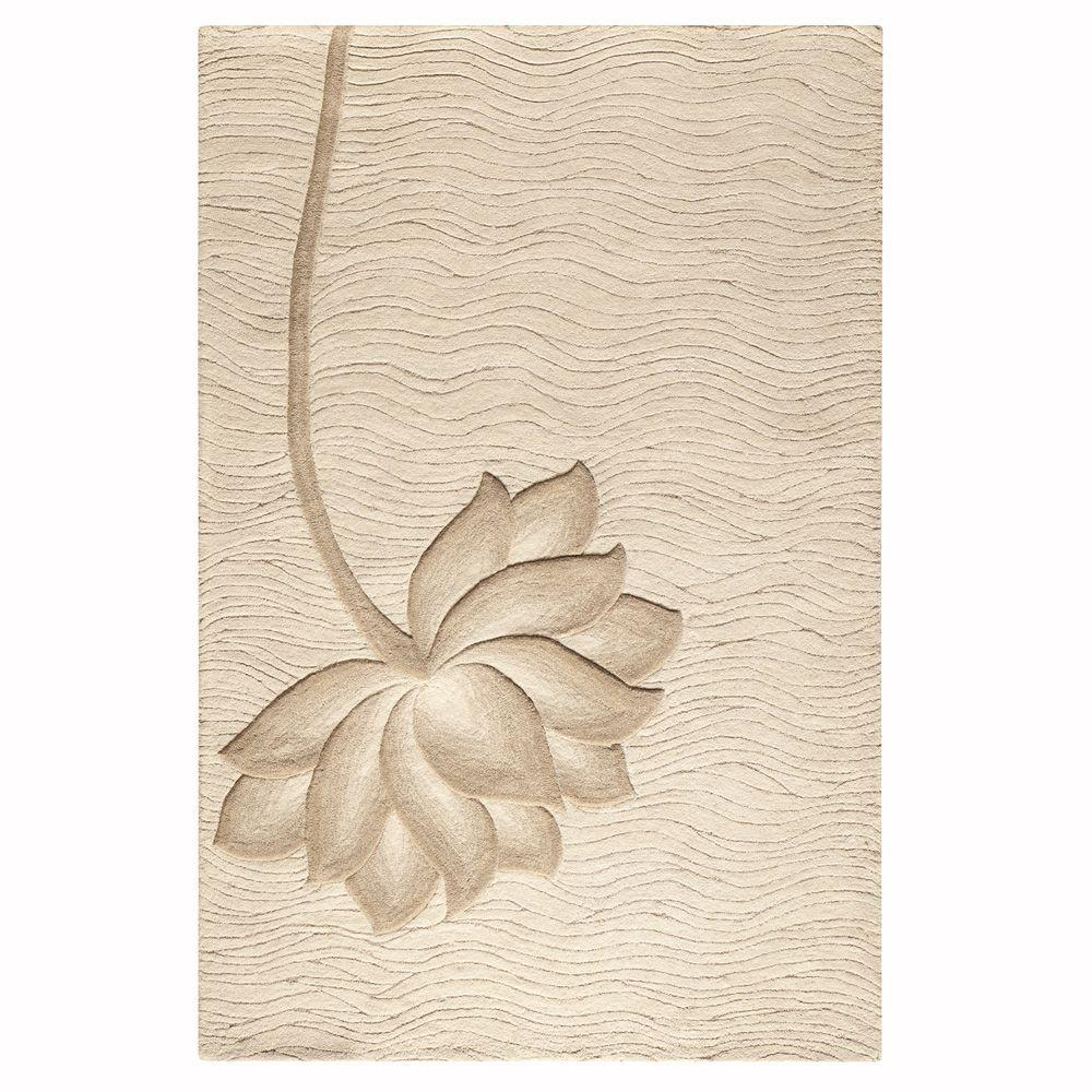 Home Decorators Collection Blooms White/Beige 5 ft. 3 in. x 8 ft. Area Rug