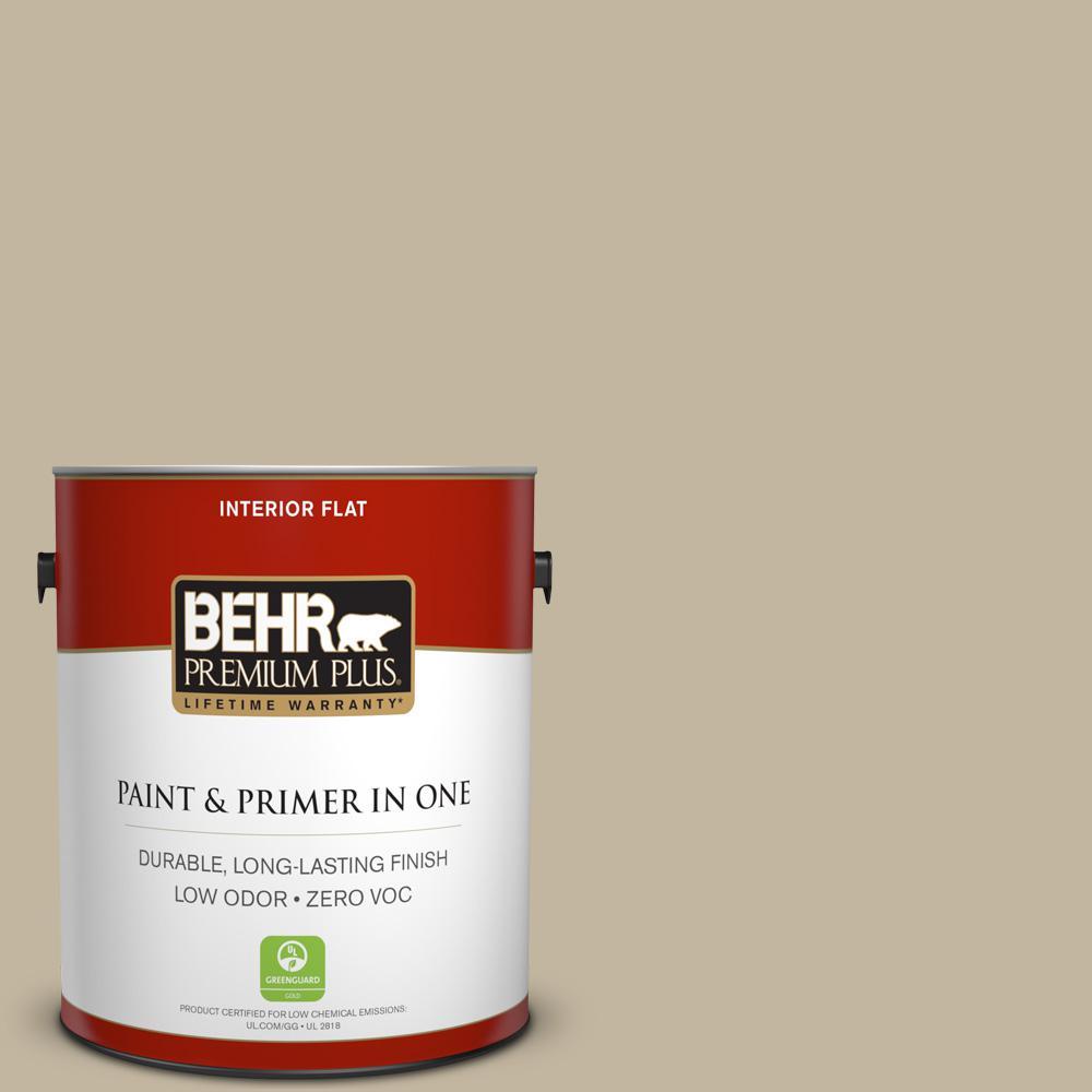 BEHR Premium Plus Home Decorators Collection 1-gal. #HDC-NT-09 Basic Khaki Zero VOC Flat Interior Paint