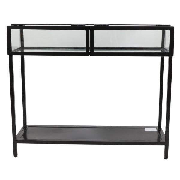 30 in. Clear Glass and Black Metal Console Table