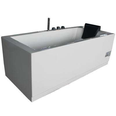 72 in. Acrylic Flatbottom Whirlpool Bathtub in White