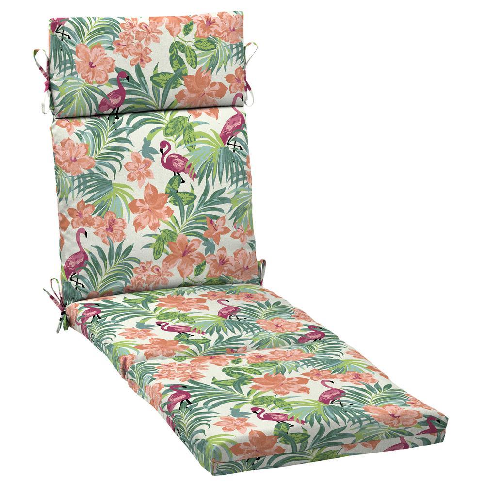 21 in. x 42.5 in. Luau Flamingo Tropical Outdoor Chaise Lounge Cushion