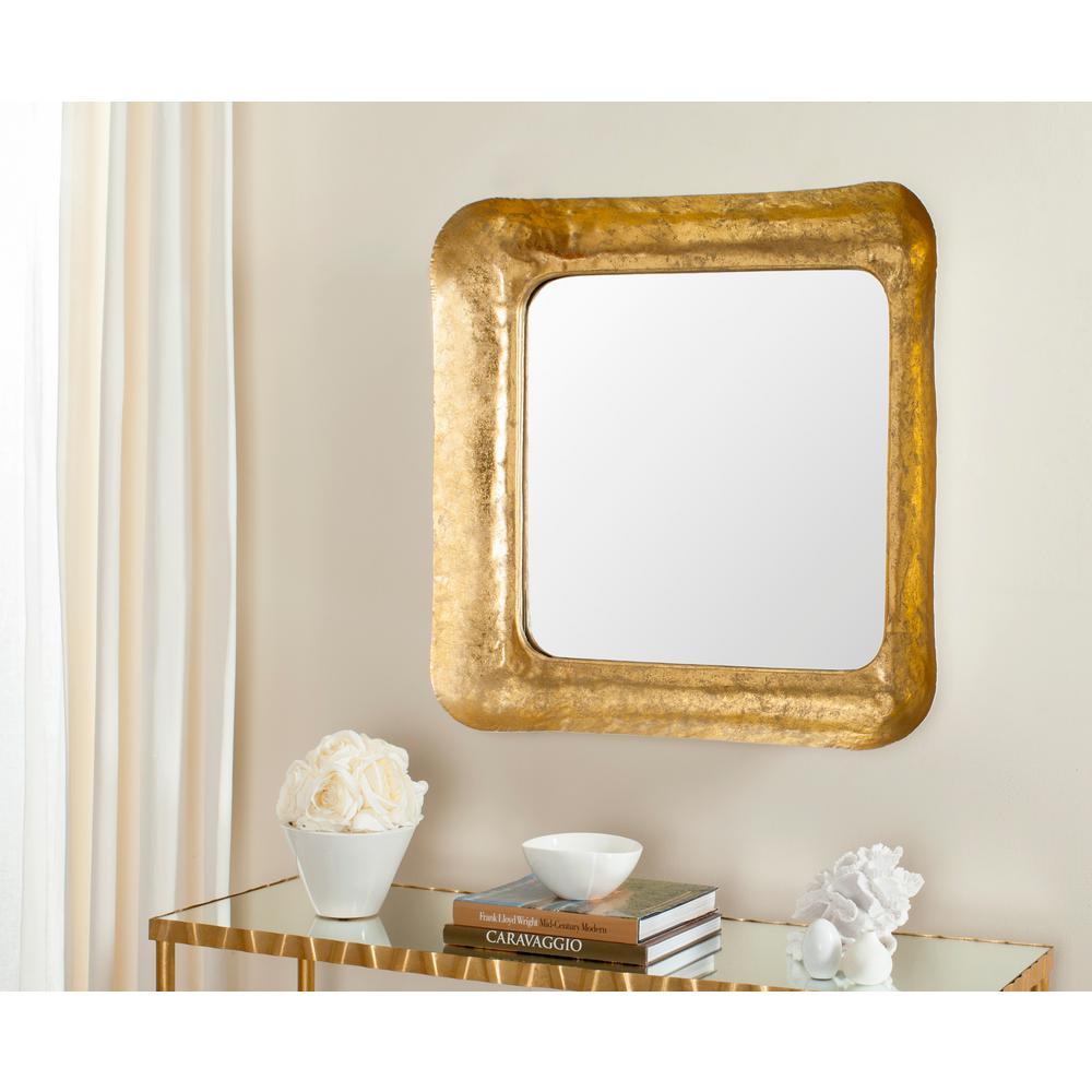 Geri Square Gold/White Iron Decorative Mirror