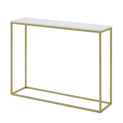 42 in. Faux White Marble/Gold Open Box Entry Table