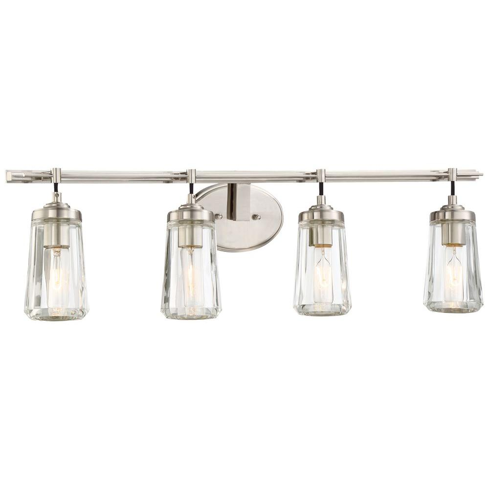 Vanity lighting poleis 4 light brushed nickel bath light aloadofball Image collections