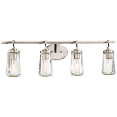 Nice Poleis 4 Light Brushed Nickel Bath Light