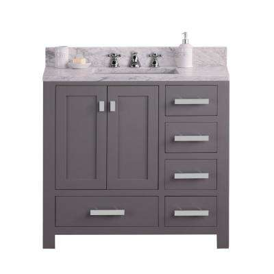 Madison 36 in. W x 34 in. H Bath Vanity in Gray with Marble Vanity Top in Carrara White with White Basin