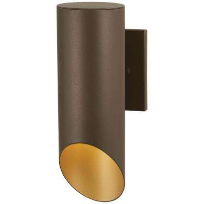 Pineview Slope Collection Sand Bronze with Gold Outdoor Wall Mount Sconce