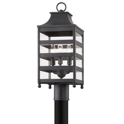 Holstrom Hardwired Forged Iron 4x4 LED In-Ground Deck Post 3-Light with Clear Glass Shade