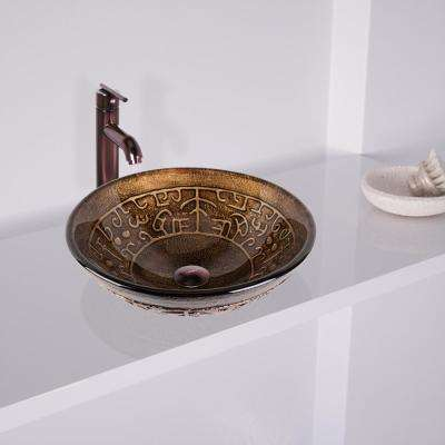 Vessel Sink in Copper Mosaic with Faucet Set in Oil Rubbed Bronze