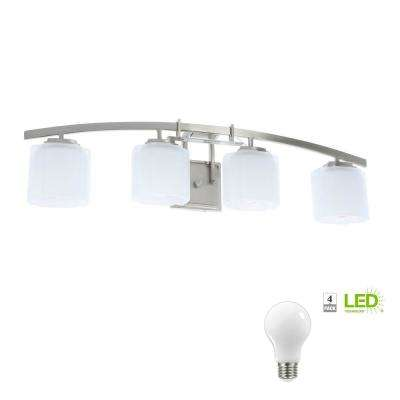 Architecture 4-Light Brushed Nickel Vanity Light with Etched White Glass Shades, Dimmable LED Daylight Bulbs Included