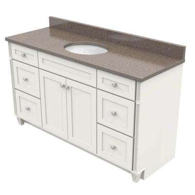 60 in. Vanity in Dove White with Natural Quartz Vanity Top in Obsidian and White Basin