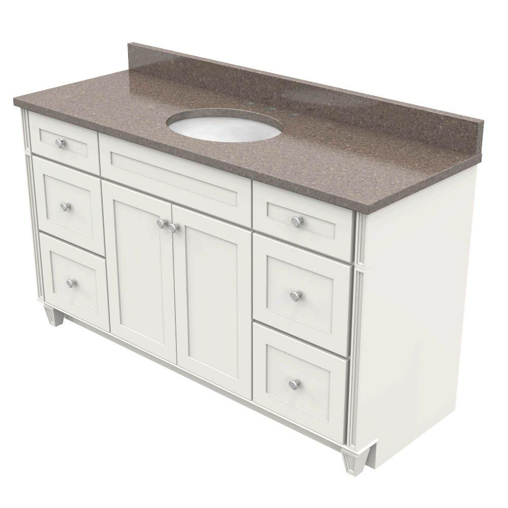 KraftMaid 60 In. Vanity In Dove White With Natural Quartz Vanity Top In  Obsidian And