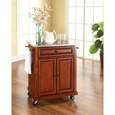 Cherry Kitchen Cart With Stainless Steel Top